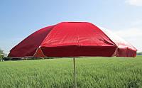 Зонт торговый пляжный 2,5м  однотонный с серебряным напылением (красный)