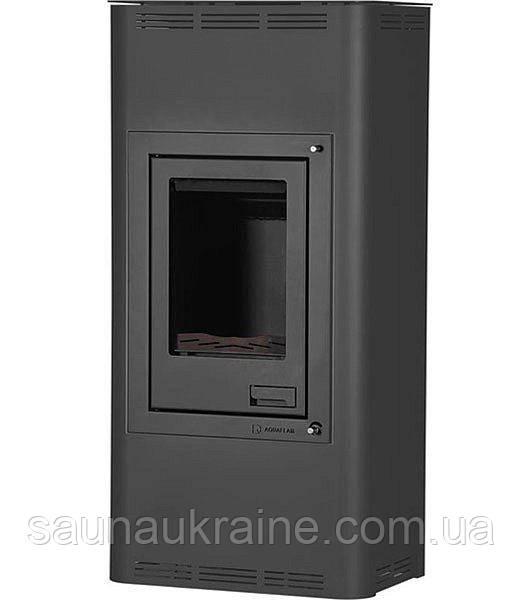 Отопительная печь-камин длительного горения AQUAFLAM 12 (водяной контур, полуавтомат, черный)