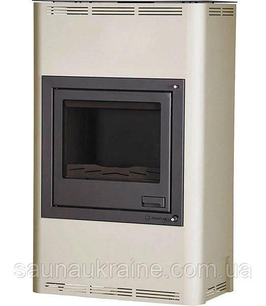 Отопительная печь-камин длительного горения AQUAFLAM 25 (водяной контур, ручная рег, кремовый)