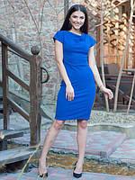 Яркое женское платье цвета электрик, в деловом стиле