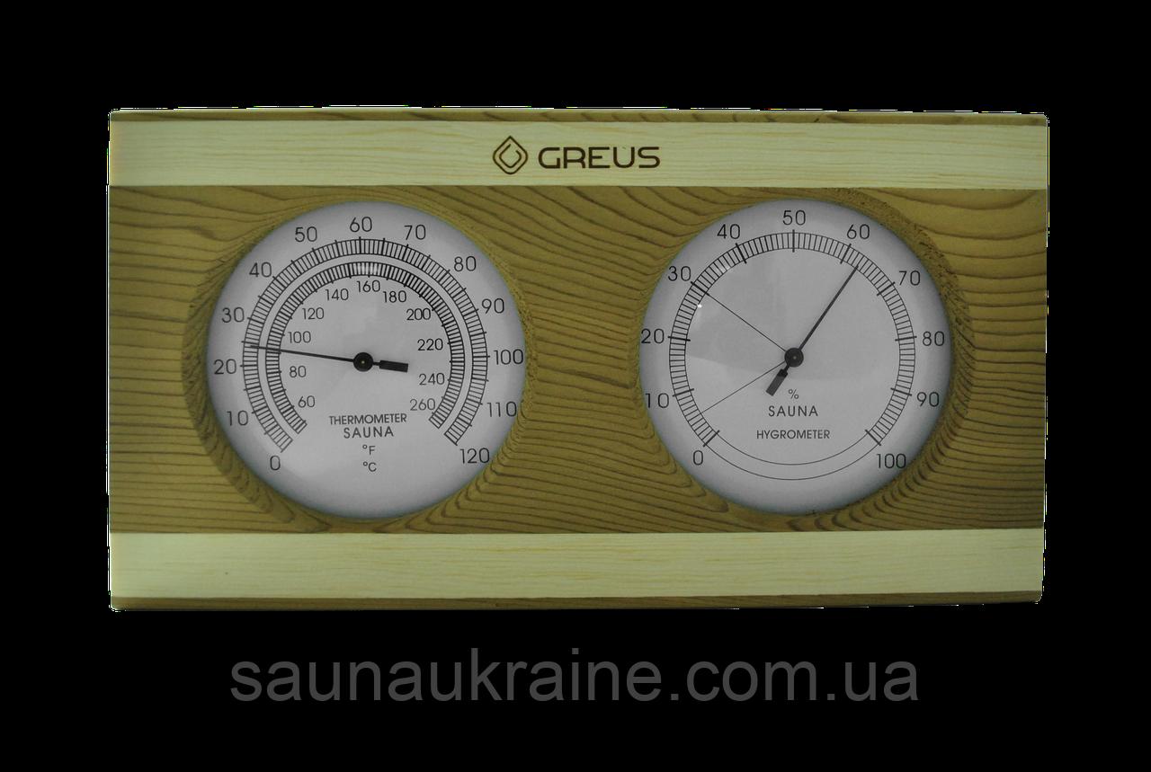 Термогигрометр Greus кедр/сосна 26х14 для бани и сауны