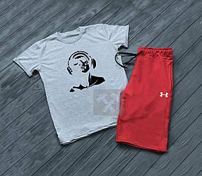 Мужской комплект футболка + шорты Under Armour серого и красного цвета (люкс копия)
