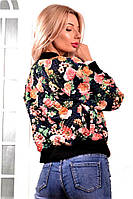 Женская стильная короткая куртка-бомбер с с цветочным рисунком, фото 1
