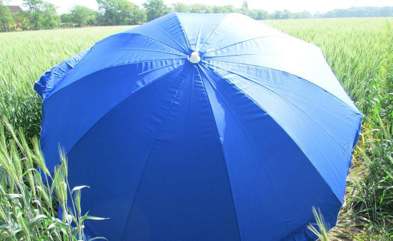 Зонт торговый пляжный 2,5м  однотонный с серебряным напылением (синий)