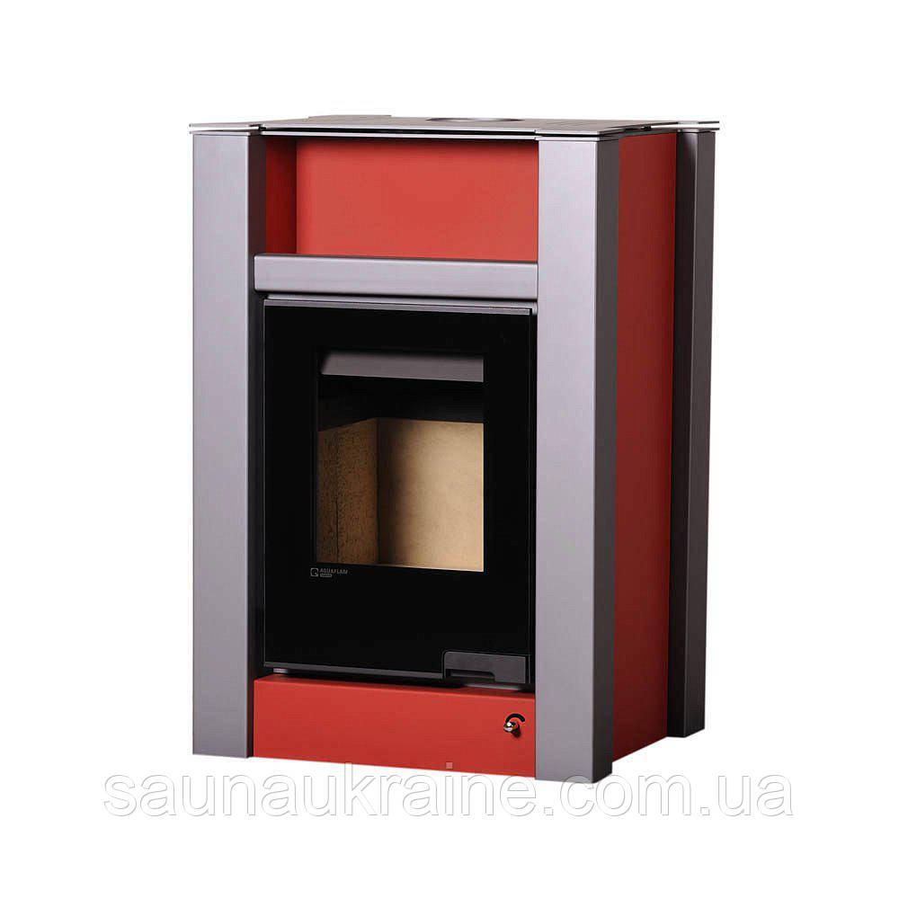 Отопительная печь-камин длительного горения Печь-камин AQUAFLAM VARIO LEND красный