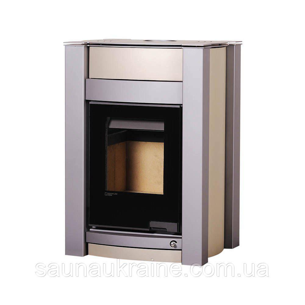 Отопительная печь-камин длительного горения Печь-камин AQUAFLAM VARIO KALMAR (с водяным контуром) кремовый металик
