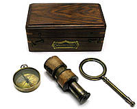 Лупа с компасом и подзорная труба в деревянном футляре (16,5х9,5х7,5 см) Индия