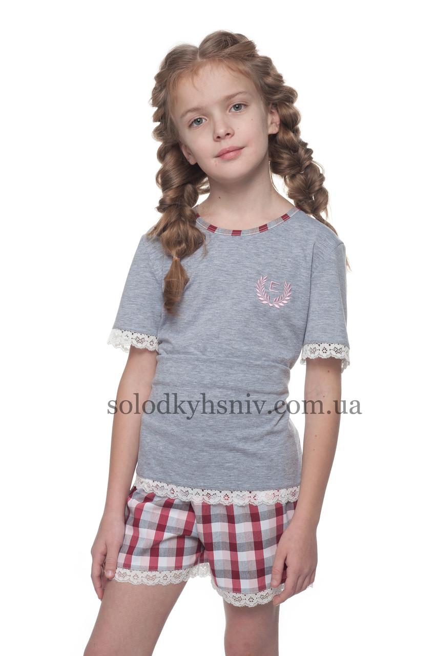 Піжама для дівчинки Футболка+шорти Червона Клітинка р.122-134 Ellen 029 001 b36ce6466e8bc