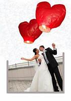 Небесные фонарики сердца большие, 1,4 м. упаковка