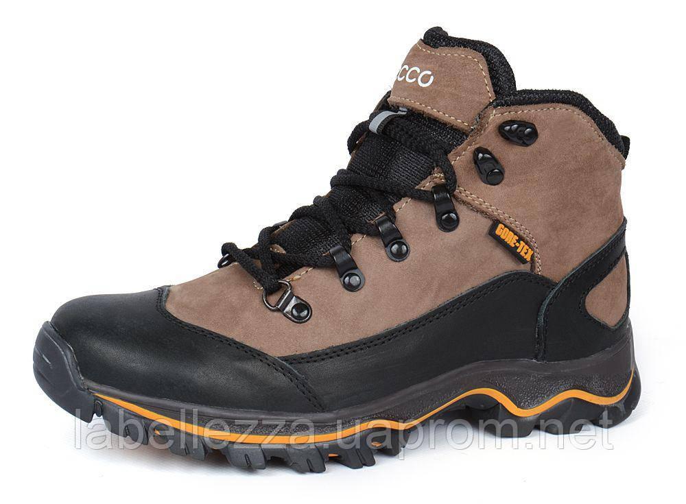 Ботинки зимние кожаные на меху Ecco Gore-tex хаки 1cd95100a05e1