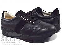 Кросовки 031-01, черные, кожа/замша 34-38 подростковые