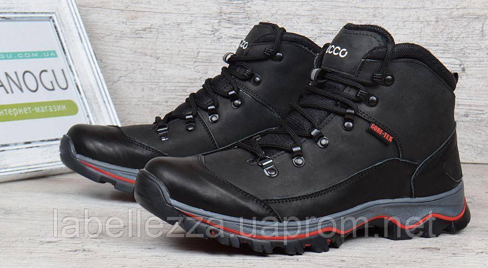 Ботинки мужские зимние кожаные на меху Ecco Gore-tex черные d720a48ca387a