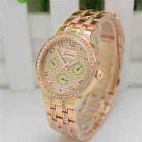 Женские часы Geneva Swarovski Rhinestone бронзовые со стразами