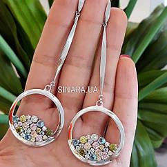 Длинные серебряные серьги висюльки с цирконием