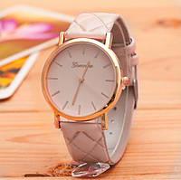 Женские часы Geneva на ремешке из экокожи бежевые, фото 1