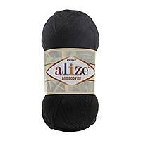 Турецкая  пряжа для  вязания Alize BAMBOO FINE (Бамбук файн) летняя пряжа бамбук - 60 черный