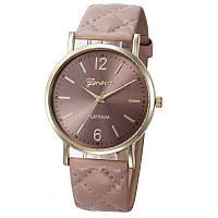 Женские часы Geneva с перламутровым циферблатом на ремешке из экокожи бежевые