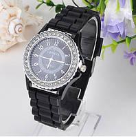 Женские часы силиконовые Geneva Crystal Black черные со стразами, фото 1