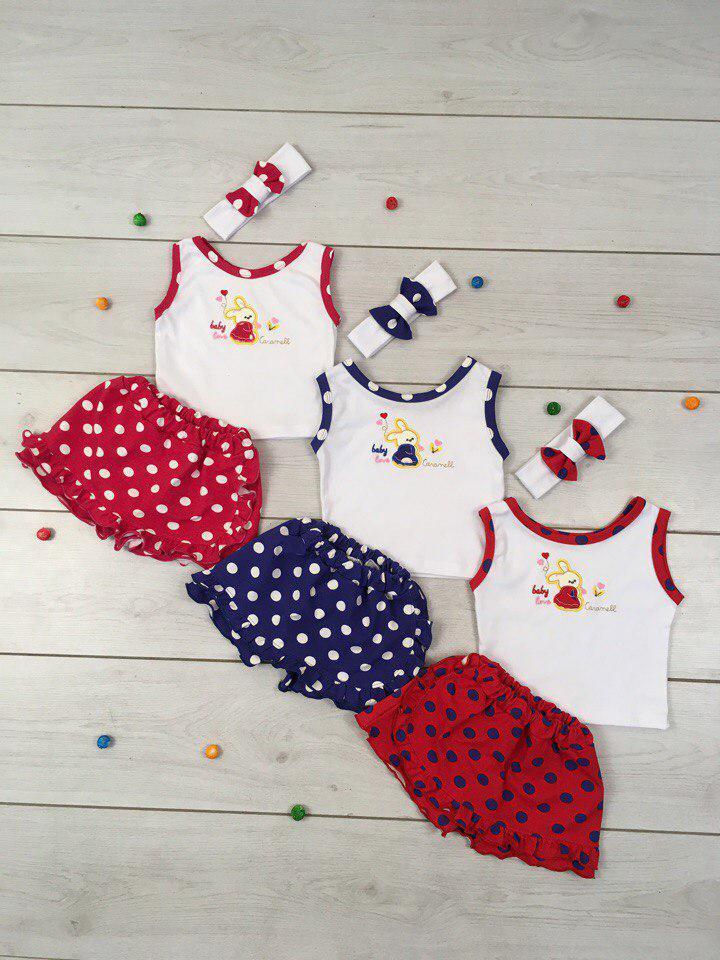 Летний детский комплект юбка - шорты Размер 68 - 80 см