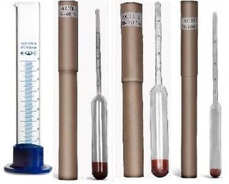 Набор ареометров (спиртометров) (ГОСТ) АСП – 3 с 100мл мерным цилиндром (ХАРЬКОВ)