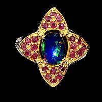 Кольцо с натуральным Черным Опалом и Рубинами