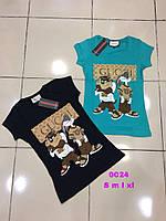 """Женская стильная футболка """"GUCCI"""" с мультяшными героями, фото 1"""