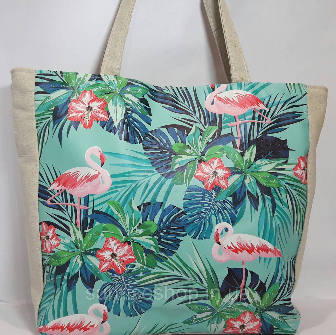 Пляжная сумка текстильная летняя Фламинго опт и розница