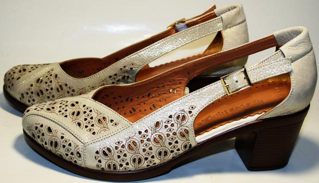 Летние женские туфли кожаные на толстом каблуке Marani Magli c8c033ac072e5