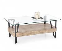 Журнальний кофейний стіл зі скла у вітальню Abrilla Halmar