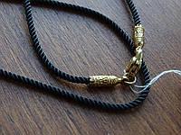 Шелковый шнурок с серебряным позолоченным замком, фото 1
