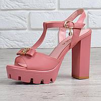 Босоножки женские на широком каблуке пудра розовые Miss Ka, Розовый, 39, фото 1