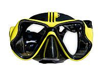 Маска для подводного плаванья Tsai с возможностью установки экшн камеры  Желтый