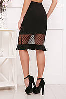 Женская черная юбка с вставкой из гипюра