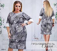 Платье прямое рукав 3/4 принт цветочный джерси 48-50,52-54,56-58,60-62