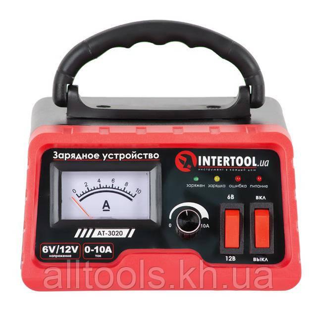 Зарядное устройство с регулировкой силы тока 6/12В 0-10А, 230В INTERTOOL AT-3020