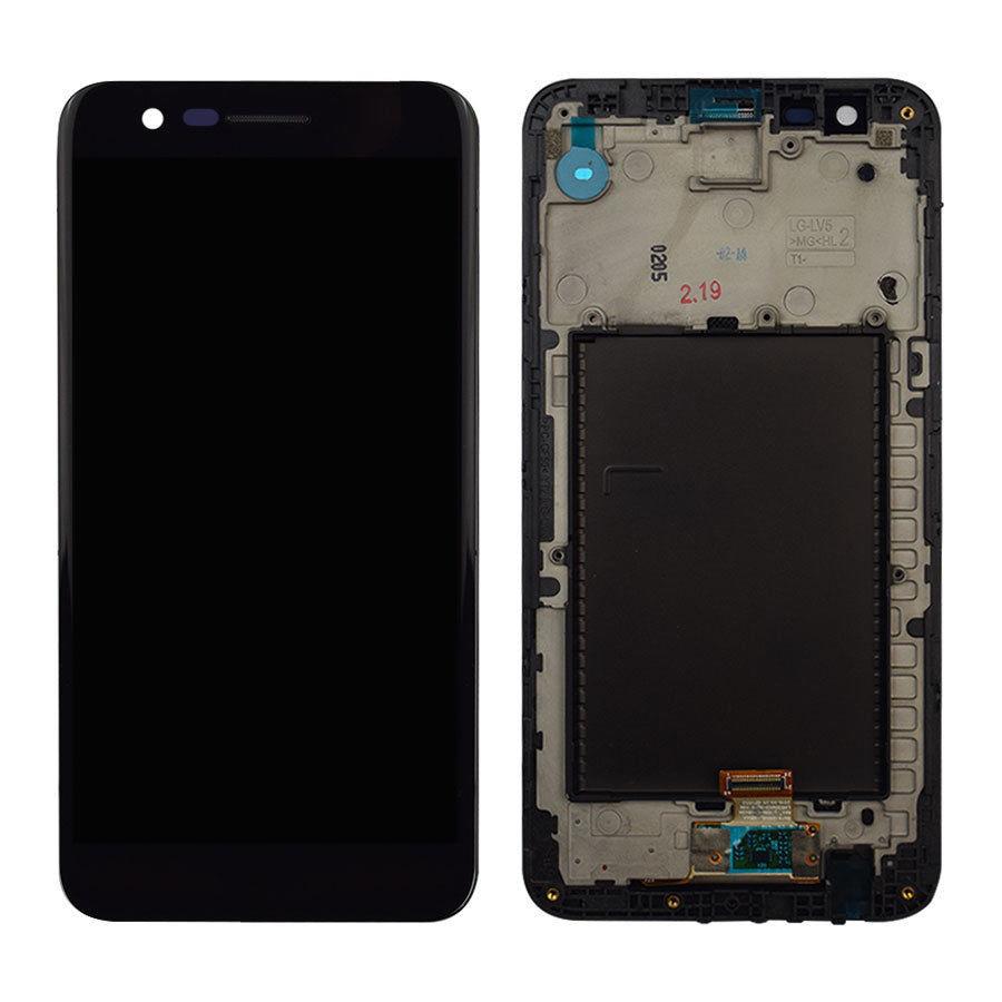 Дисплей (экран) для LG M250 K10 (2017) с сенсором (тачскрином) и рамкой черный Оригинал