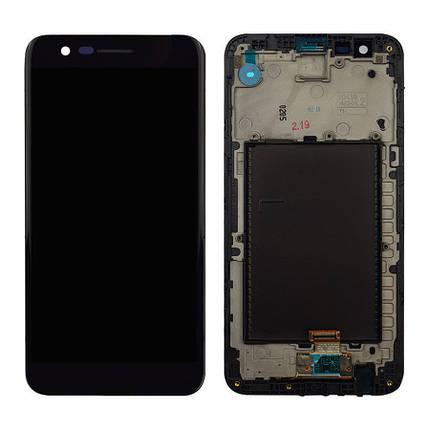 Дисплей (экран) для LG M250 K10 (2017) с сенсором (тачскрином) и рамкой черный Оригинал, фото 2