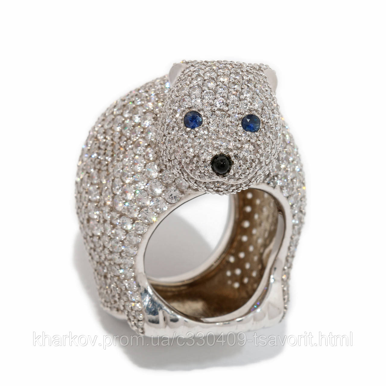 """Серебряное кольцо с сапфиром """"Медвежонок"""" 195КЮ"""