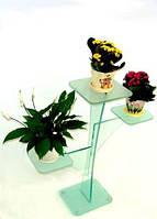 """Подставка под цветы стеклянная на хромированных ножках Maxi RR 820/730 """"матовый"""" стекло, хром"""