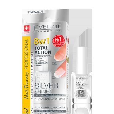 Средство для восстановления ногтей 8в1 Eveline Cosmetics Nail Therapy Professional Silver Shine 12 ml.