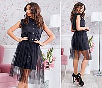 Модное платье-рубашка со съемной юбкой