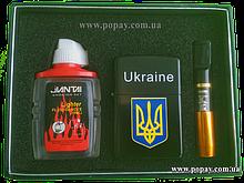 Подарочный набор 3в1 (зажигалка бензиновая, бензин, мундштук)
