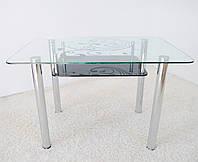 "Стол обеденный Maxi DT R 1100/700 (2) ""завиток"" стекло, хром, фото 1"