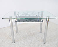 """Стол обеденный стеклянный на хромированных ножках Maxi DT R 1100/700 (2) """"завиток"""" стекло, хром, фото 1"""