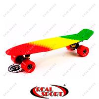Скейтборд пластиковый Penny Rubber Soft Fish SK-412-7 (22in, полосатая дека, красный-желтый-зеленый)
