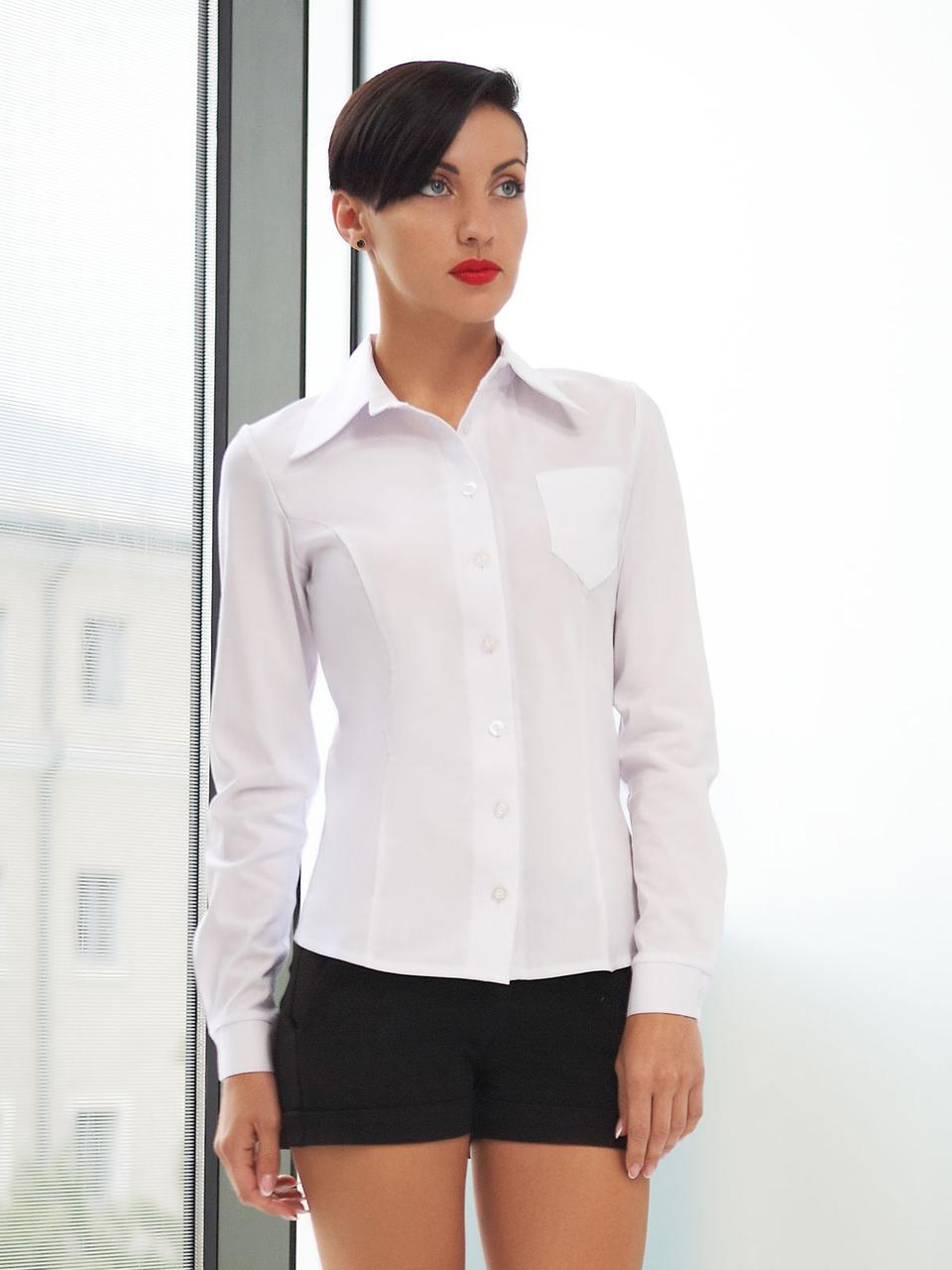 Женская белая рубашка с длинным рукавом Марта д/р