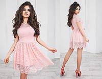 Нарядное короткое гипюровое женское платье с юбкой-татьянка с коротким рукавом. 8 цветов. Размеры : 42,44,46., фото 1