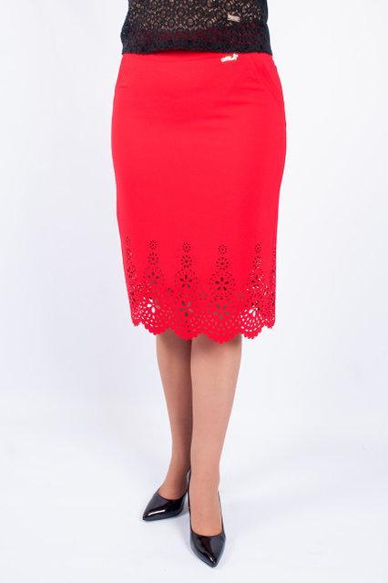 Женская нарядная юбка за колено с перфорацией. 46-58