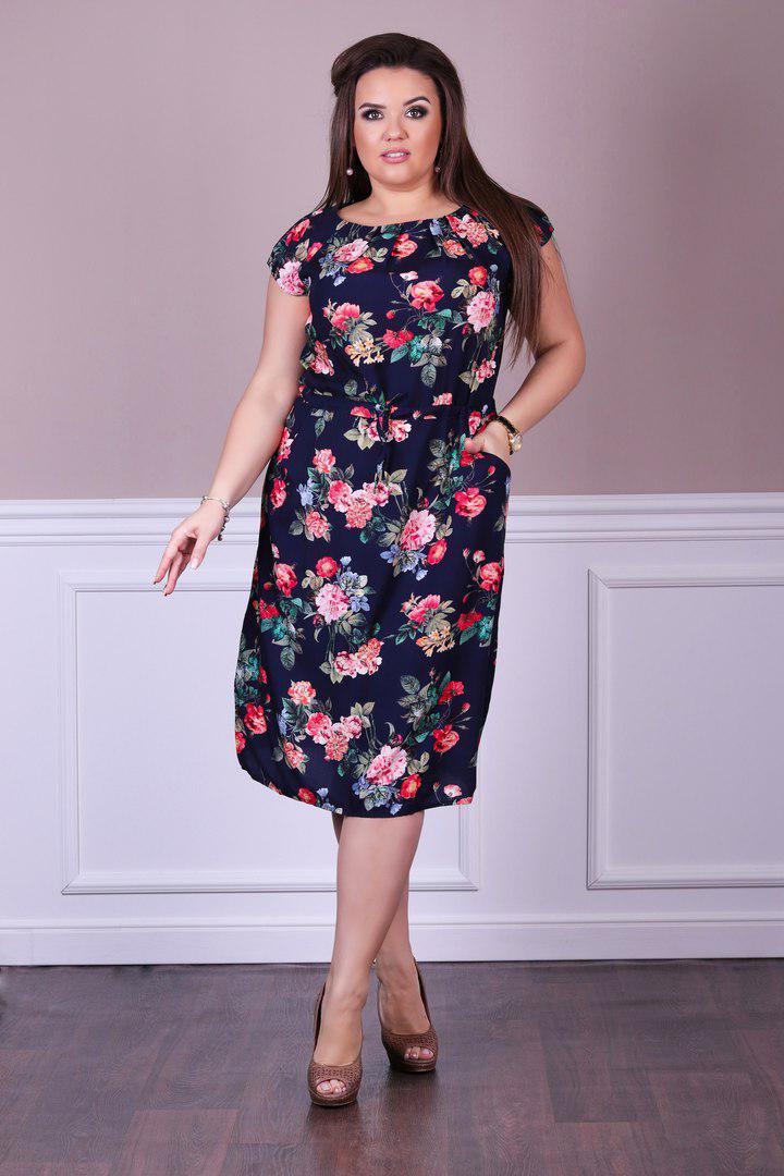 1b13371708f Летнее яркое платье короткий рукав штапель принт бабочки+ цветы размеры 48  50 52 54