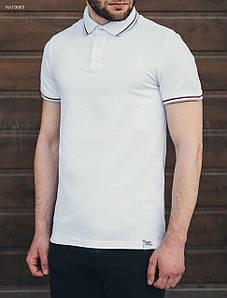 Мужская белая футболка поло Staff white red line hat0069